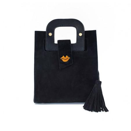 Black suede leather bag ARTISTE, orange mouth embroidery, view 2 | Gloria Balensi
