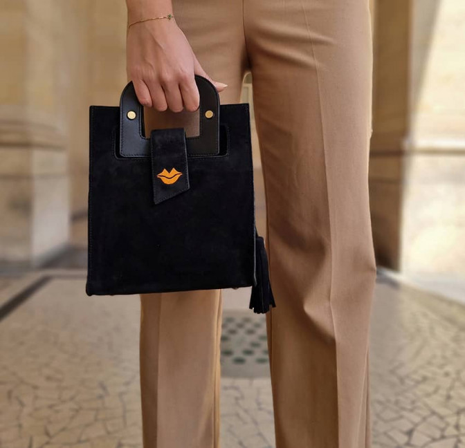 Black suede leather bag ARTISTE, orange mouth embroidery, view 1 | Gloria Balensi