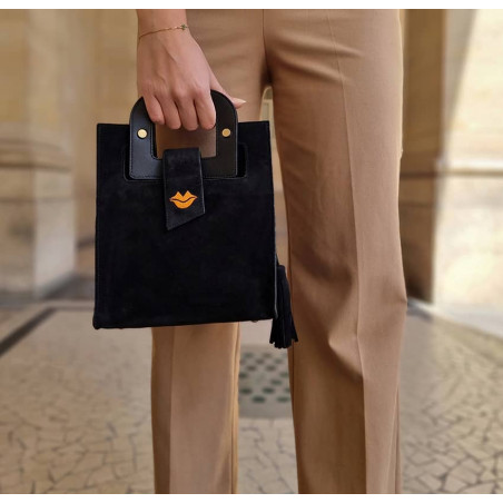 Sac ARTISTE en cuir velours noir, broderie bouche orange, vue 1    Gloria Balensi