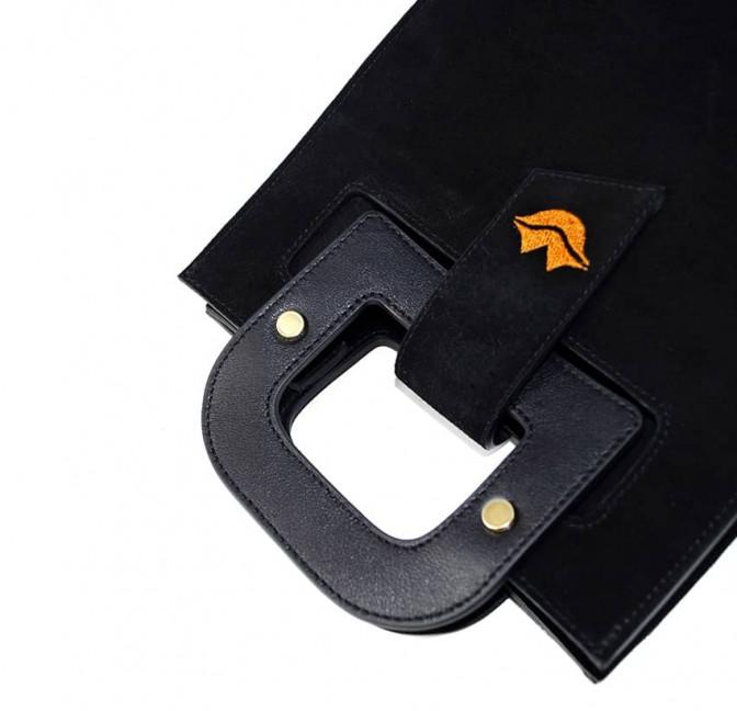 Black suede leather bag ARTISTE, orange mouth embroidery, view 3 | Gloria Balensi