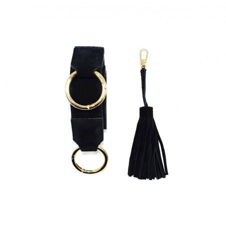Sac en cuir noir velours ARTISTE, broderie bouche rouge, pièces métalliques dorées, vue 5 | Gloria Balensi