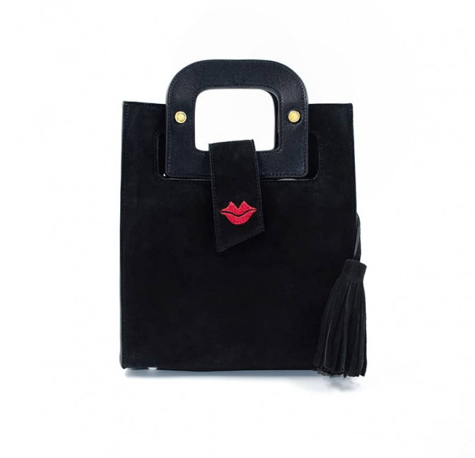 Black suede leather bag ARTISTE, red mouth embroidery, view 1 | Gloria Balensi