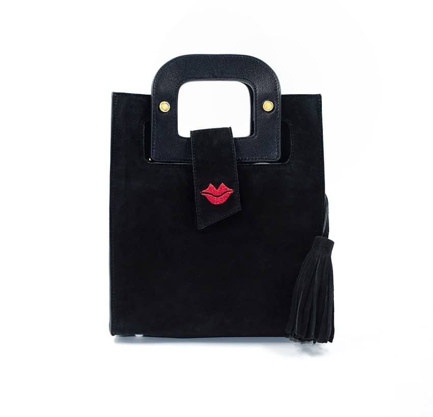 Black suede leather bag ARTISTE, red mouth embroidery, view 1   Gloria Balensi