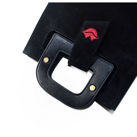 Black suede leather bag ARTISTE, red mouth embroidery, view 3   Gloria Balensi