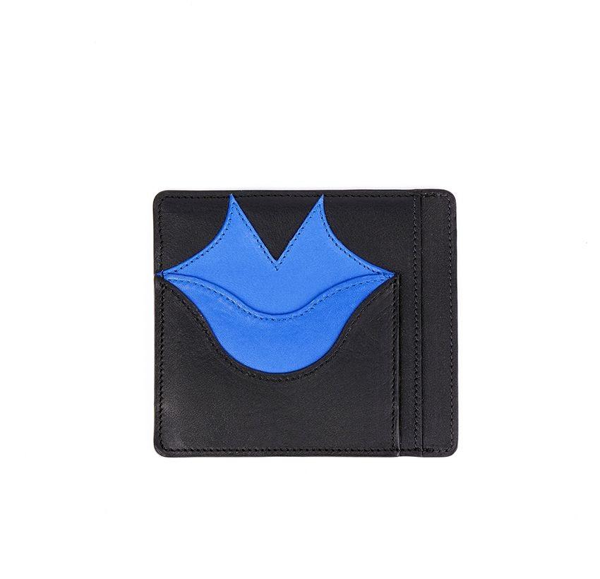 Porte-cartes MILY noir et bleu klein en cuir de veau et agneau