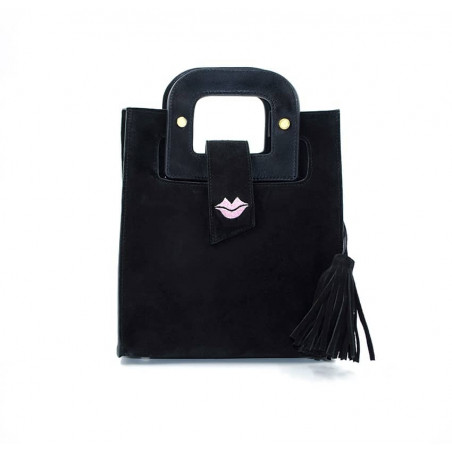 Black suede leather bag ARTISTE, pink mouth embroidery, view 2 | Gloria Balensi