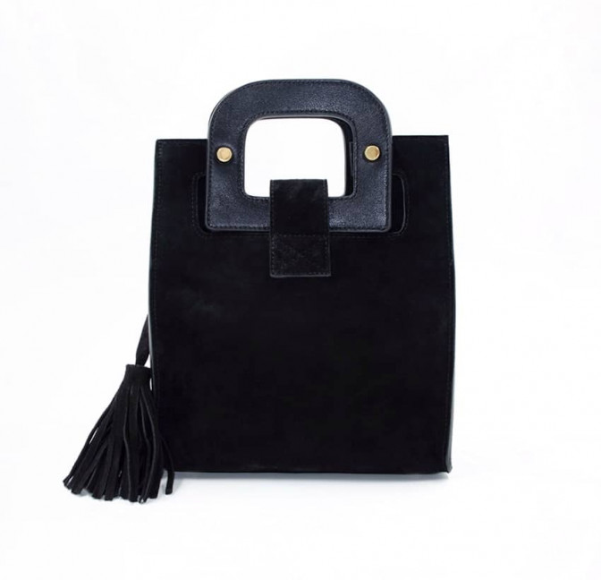 Black suede leather bag ARTISTE, pink mouth embroidery, view 5 | Gloria Balensi