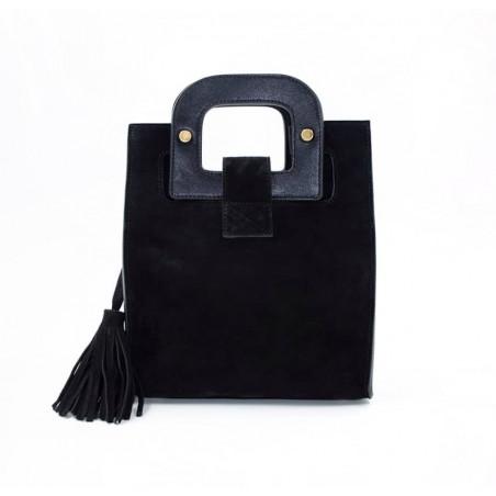 Sac à main femme velours noir ARTISTE, anses noir avec broderie rose, pièces métalliques dorées, vue de dos | Gloria Balensi
