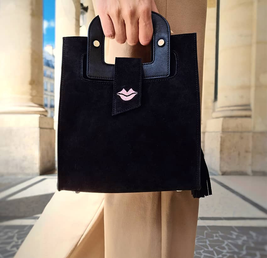 Black suede leather bag ARTISTE, pink mouth embroidery, view 3 | Gloria Balensi