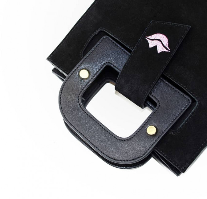 Black suede leather bag ARTISTE, pink mouth embroidery, view 4 | Gloria Balensi