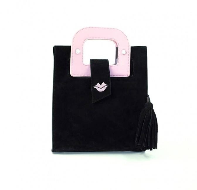 Sac en cuir noir velours ARTISTE, broderie bouche et anses rose, vue 1 |Gloria Balensi