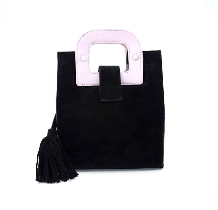 Sac en cuir noir velours ARTISTE, broderie bouche et anses rose, vue 4 |Gloria Balensi