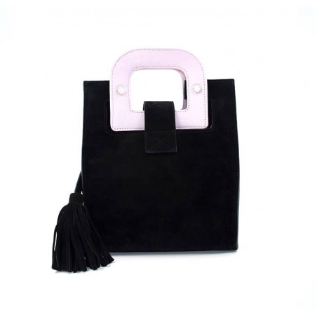 Black suede leather bag ARTISTE, pink handle and mouth embroidery , view 4  | Gloria Balensi