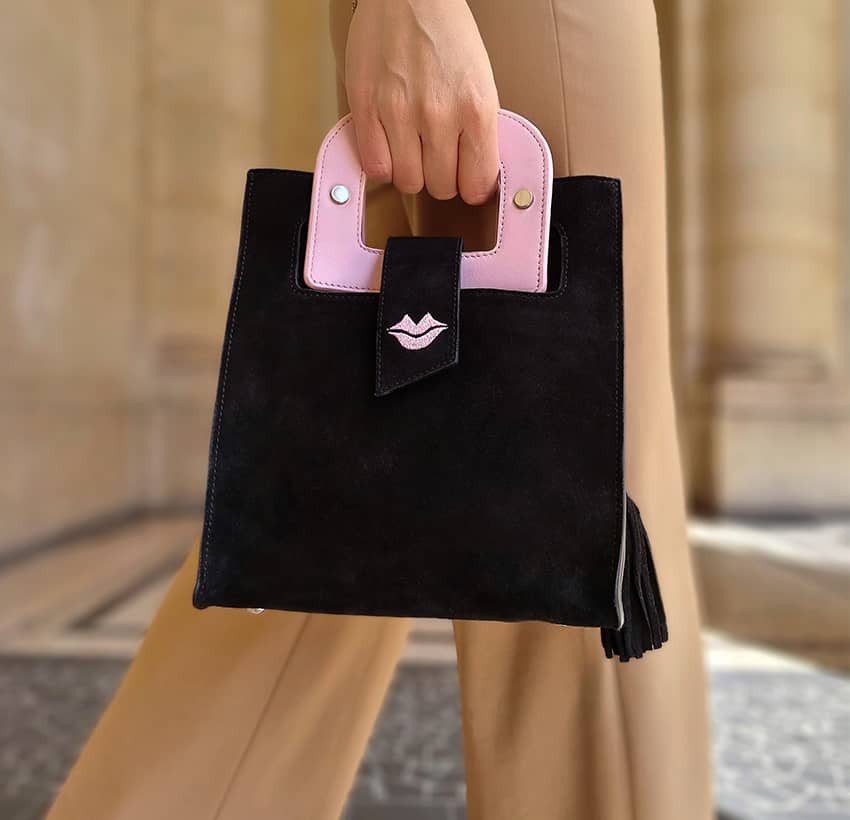 Black suede leather bag ARTISTE, pink handle and mouth embroidery , view 2  | Gloria Balensi