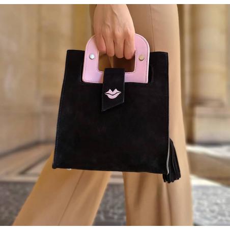 Sac en cuir noir velours ARTISTE, broderie bouche et anses rose, vue 2 |Gloria Balensi