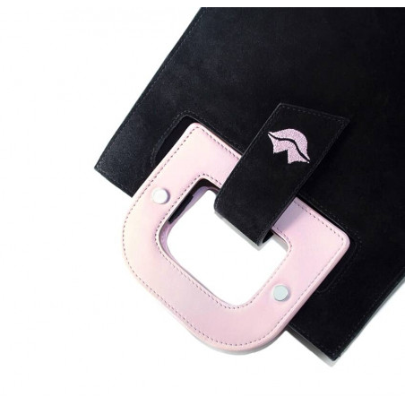 Black suede leather bag ARTISTE, pink handle and mouth embroidery , view 3  | Gloria Balensi