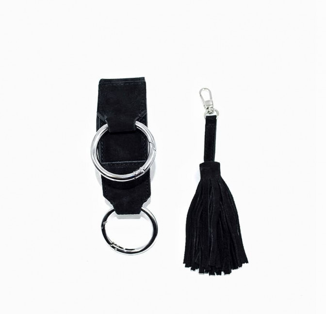 Black suede leather bag ARTISTE, pink handle and mouth embroidery , view 5  | Gloria Balensi