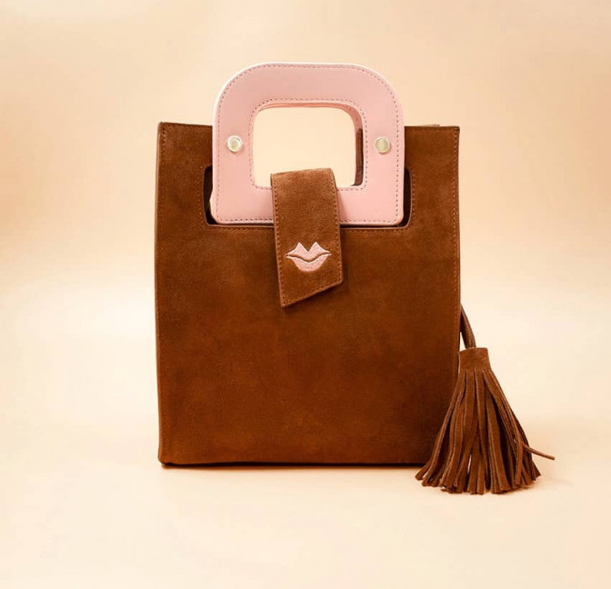 Camel beige suede leather bag ARTISTE, pink handle and mouth embroidery , view 1  | Gloria Balensi