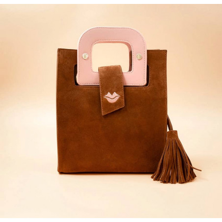 Sac en cuir camel daim ARTISTE, broderie bouche et anses rose, vue 1 |Gloria Balensi