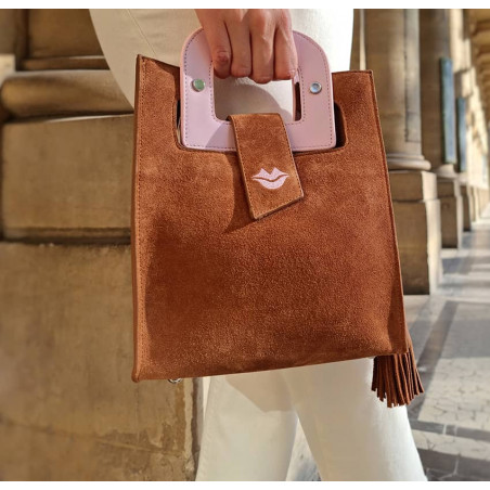 Camel beige suede leather bag ARTISTE, pink handle and mouth embroidery , view 2  | Gloria Balensi