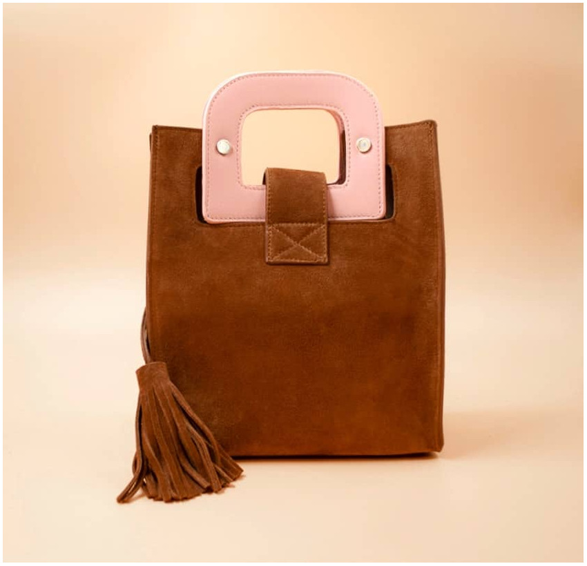 Camel beige suede leather bag ARTISTE, pink handle and mouth embroidery , view 5  | Gloria Balensi