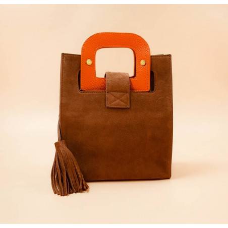 Camel beige suede leather bag ARTISTE, orange handle and mouth embroidery , view 4    Gloria Balensi