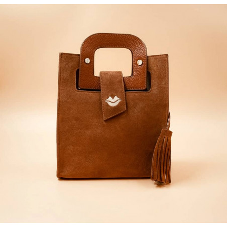 Camel beige suede leather bag ARTISTE, beige mouth embroidery , view 1  | Gloria Balensi