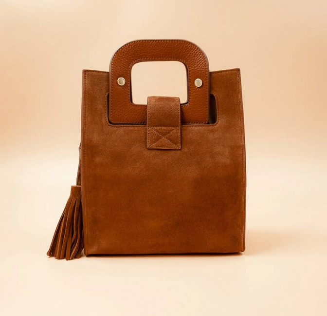 Camel beige suede leather bag ARTISTE, beige mouth embroidery , view 4  | Gloria Balensi