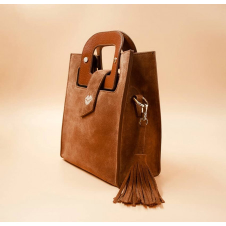 Camel beige suede leather bag ARTISTE, beige mouth embroidery , view 3  | Gloria Balensi