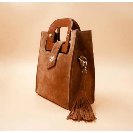 Sac en cuir camel daim ARTISTE, broderie bouche beige, vue 3 |Gloria Balensi