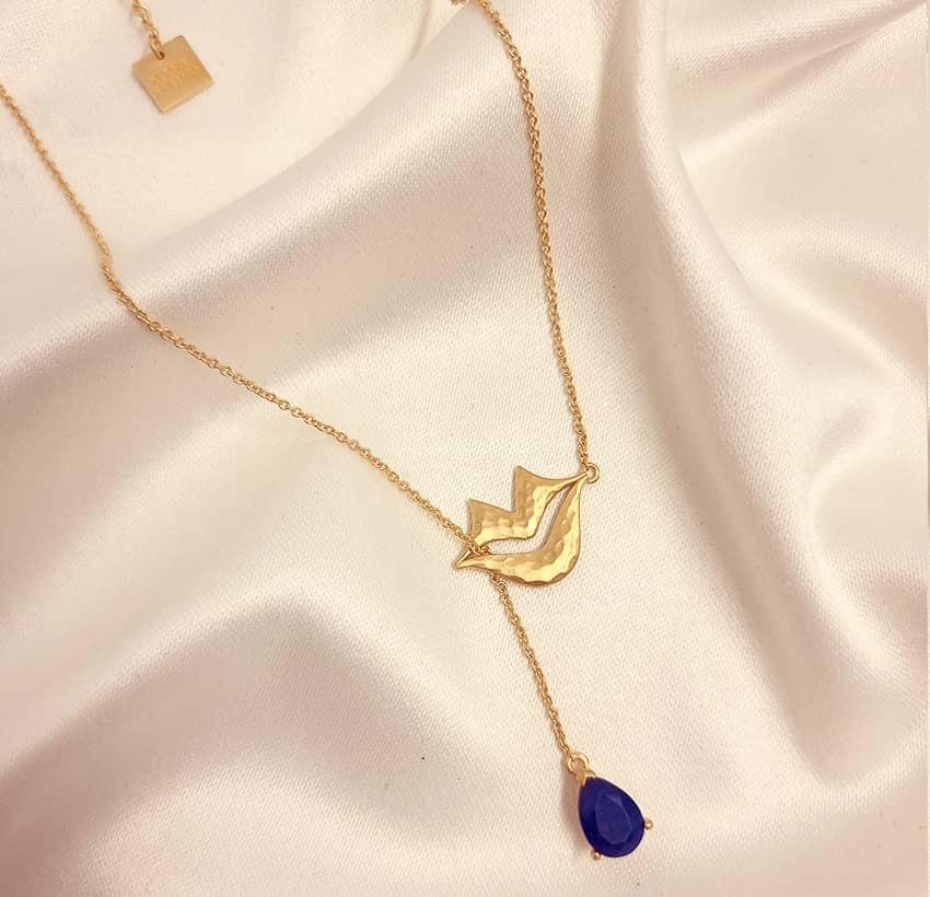 HÉRA chain necklace with lapis lazuli, front view 2 | Gloria Balensi