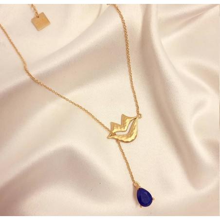 Collier chaîne HÉRA avec lapis lazuli, vue devant 2   Gloria Balensi