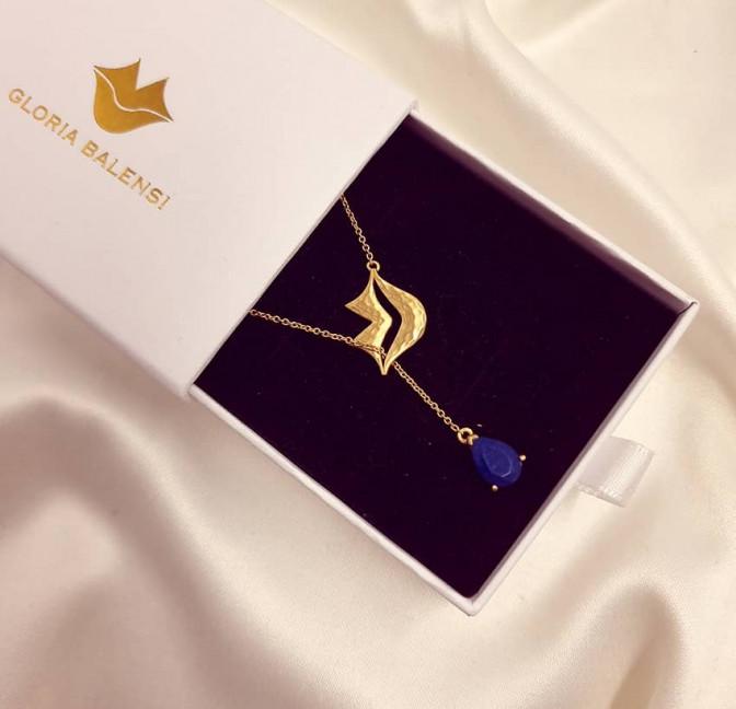 HÉRA chain necklace with lapis lazuli, front view 3 | Gloria Balensi