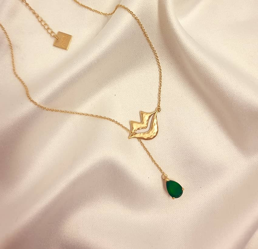 Collier chaîne HÉRA avec Onyx vert, vue devant 3 | Gloria Balensi