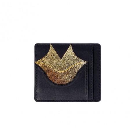 Porte-cartes MILY noir et doré en cuir de veau et agneau