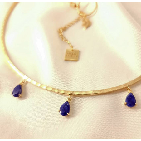 NAYA torque necklace with Lapis Lazuli, view zoom on stone 2 | Gloria Balensi