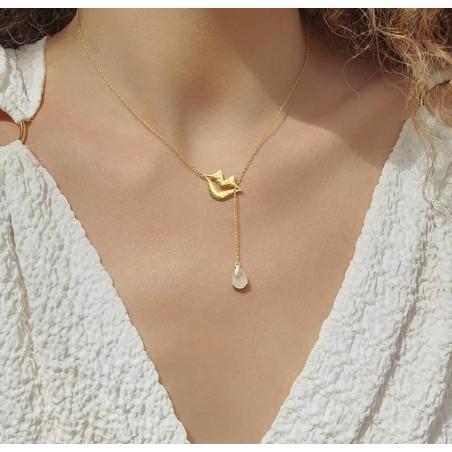 Collier chaîne HÉRA avec pierre lune, vue portée | Gloria Balensi
