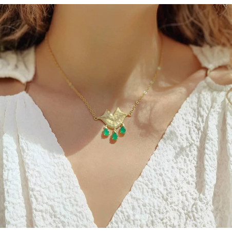 Collier chaîne VENUS avec Onyx vert, vue portée 1 | Gloria Balensi