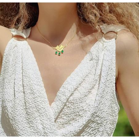 Collier chaîne VENUS avec Onyx vert, vue portée 2 | Gloria Balensi