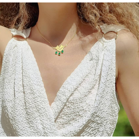 VENUS chain necklace with green Onyx, front view 3 | Gloria Balensi