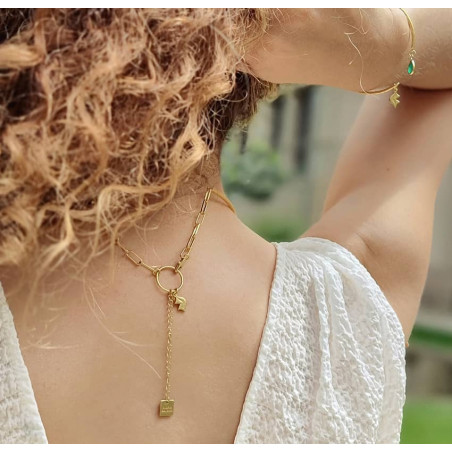 NAYA torque necklace with green onyx, back view  | Gloria Balensi