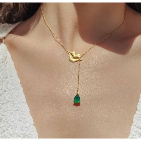 HÉRA chain necklace with green onyx, front view 4 | Gloria Balensi