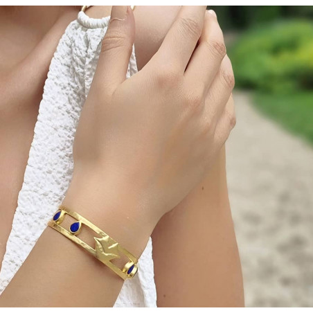 Gold-plated bracelet OLYMPE with Lapis lazuli, front view 3 | Gloria Balensi