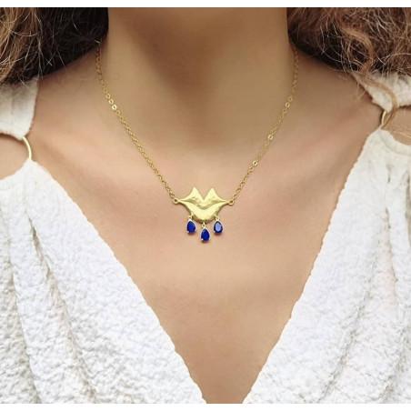 VENUS chain necklace with Lapis lazuli, front view 2   Gloria Balensi