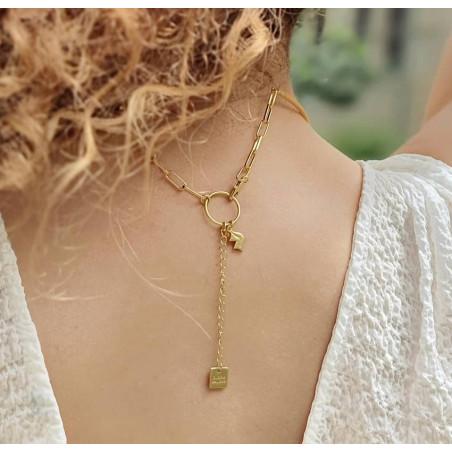 NAYA torque necklace with pink quartz, back view | Gloria Balensi