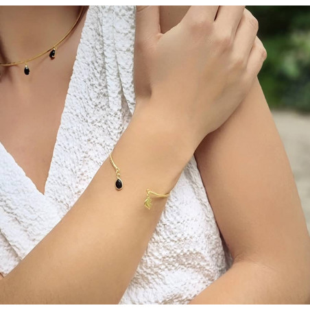Gold-plated bracelet AVA with black Onyx, front view 3   Gloria Balensi