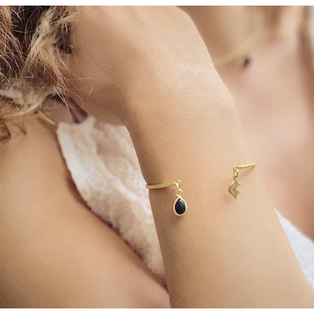 Gold-plated bracelet AVA with black Onyx, front view 2  Gloria Balensi