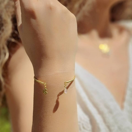 Gold-plated bracelet AVA with pink quartz, front view 2 | Gloria Balensi