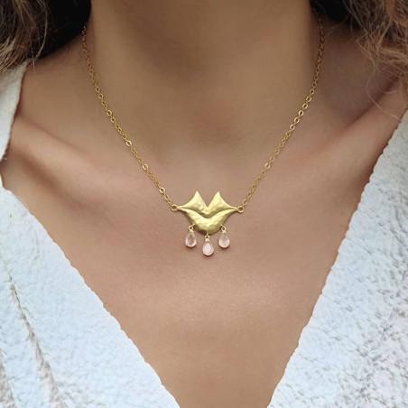 VENUS chain necklace with pink quartz, front view 2| Gloria Balensi