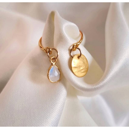 Gold-plated AVA ring with charms, moonstone and gold pendant , lifestyle view  | Gloria Balensi
